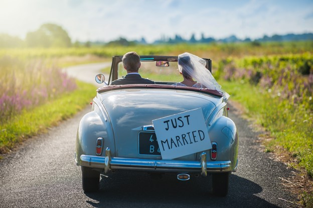 Just Married Sign on the Back of Car