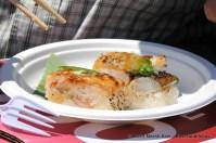 JaBistro's Oshizushi: blowtorched and pressed sushi with shrimp, mackerel, salmon