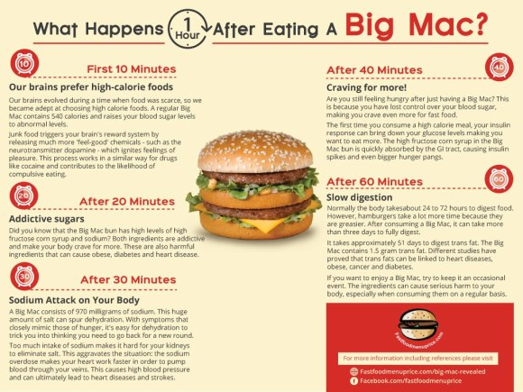 What happens one hour after eating a big mac?