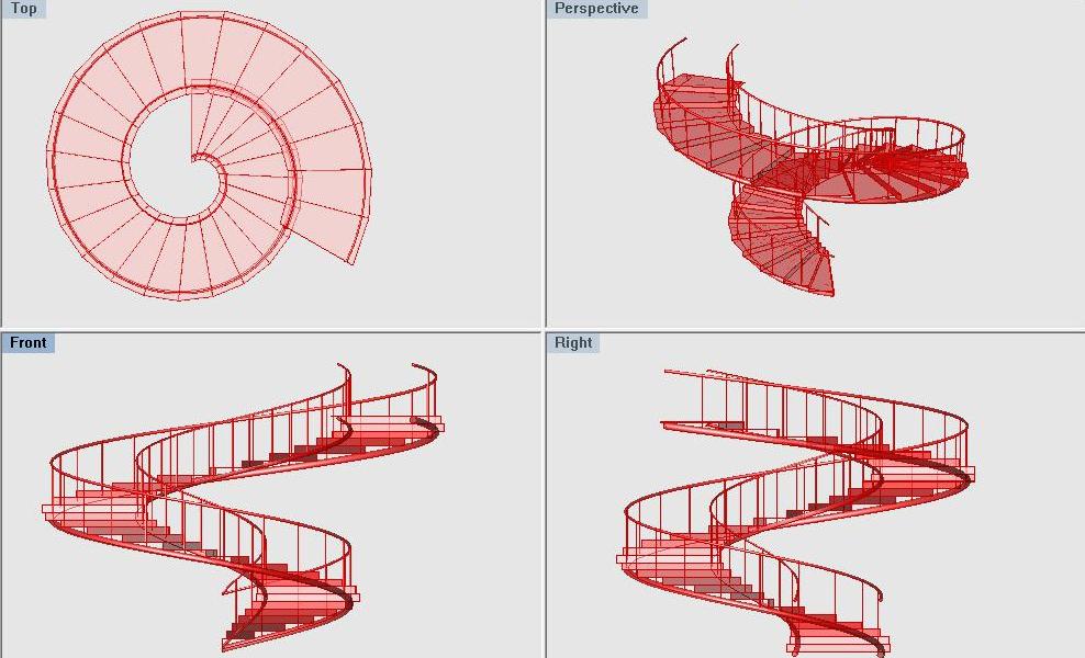 Archimedean Spiral Parametric Staircase