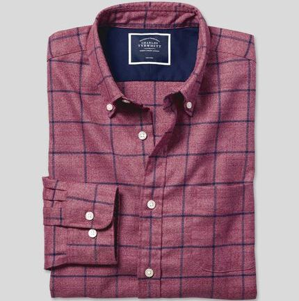 Button-Down Collar Non-Iron Twill Check Shirt - Berry & Navy