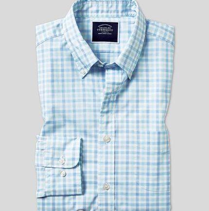 Button-Down Collar Soft Washed Stretch Poplin Check Shirt - Light Green & Blue