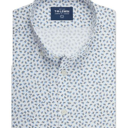 Half Sleeve Fitted White and Navy Floral Print Shirt