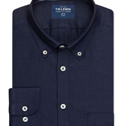 Linen Modal Slim Fit Navy Button Cuff Shirt