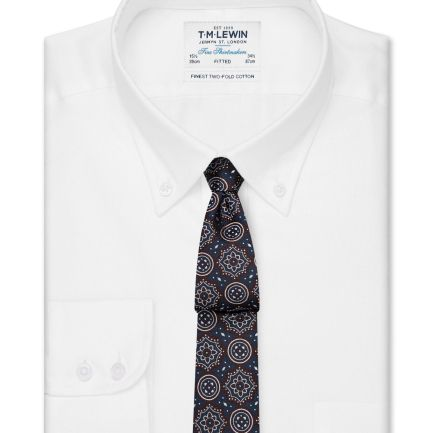 Fitted White Oxford Button Down Shirt