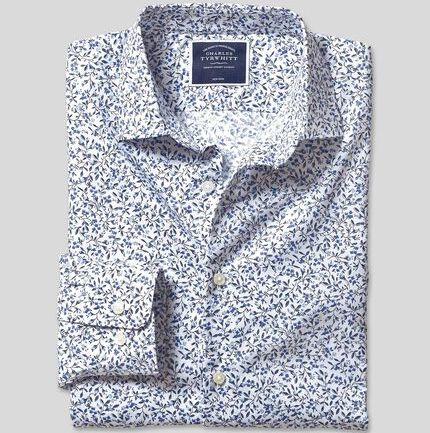 Stretch Poplin Floral Print Shirt - Blue
