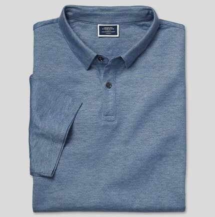 Cotton Tencel Mix Jacquard Polo - Blue
