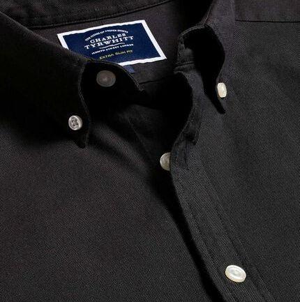 Button-Down Collar Washed Oxford Shirt - Black