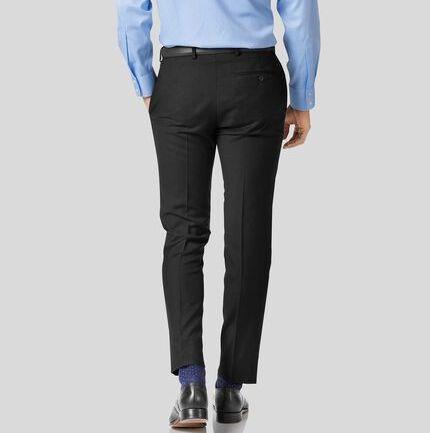 Black slim fit twill business suit trouser