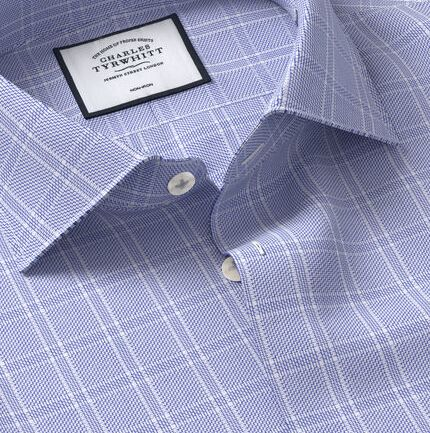 Business Casual Collar Non-Iron Natural Stretch Check Shirt - Blue