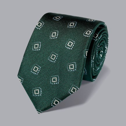 Silk Textured Square Motif Tie - Green & Sky