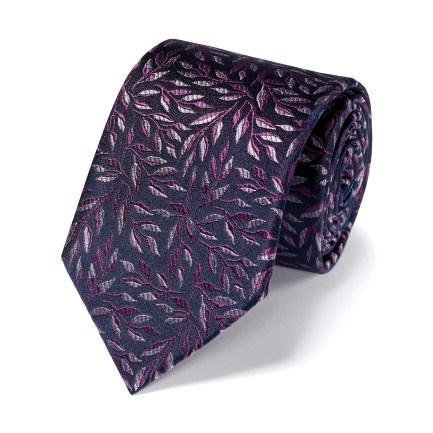 Silk Floral Tie - Navy & Purple