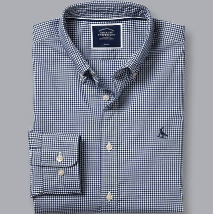Button-Down Collar Non-Iron Stretch Poplin Mini Gingham Shirt - French Blue