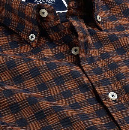 Button-Down Collar Non-Iron Twill Large Gingham Shirt - Dark Orange