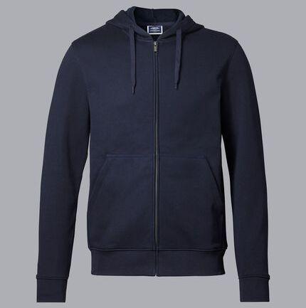 Jersey Hooded Zip Through Sweater - Navy