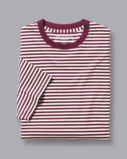 Cotton Stripe T-Shirt - Wine & Ecru