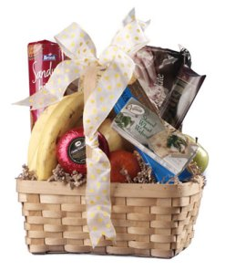 Gourmet Food and Fruit In A Keepsake Basket