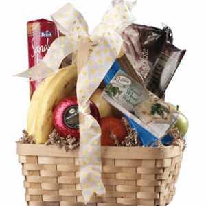 Gourmet Food and Fruit In A Keepsake Basket