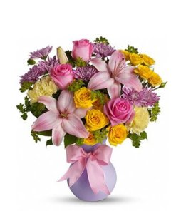 Purple Lilies and Yellow Roses Flower Bouquet