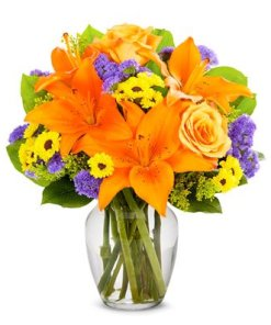 A Bouquet of Orange Roses and Lilies