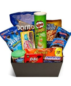 Junk Food Basket Filled WIth Candy Bars