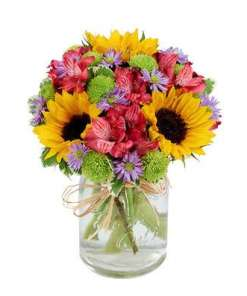 Flower Fields Mason Jar Bouquet
