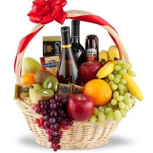 Premium Selection Wine Fruit Gourmet Gift Basket