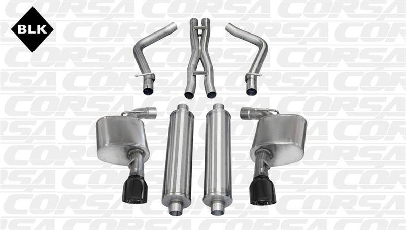 Corsa Sport Cat-Back Exhaust (Black): Dodge Charger SRT8