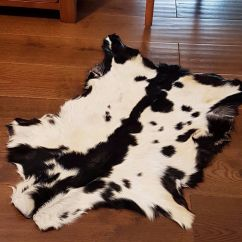 Suede Living Room Furniture Paint Ideas Blue Black And White Goat Skin Rug | Large ...