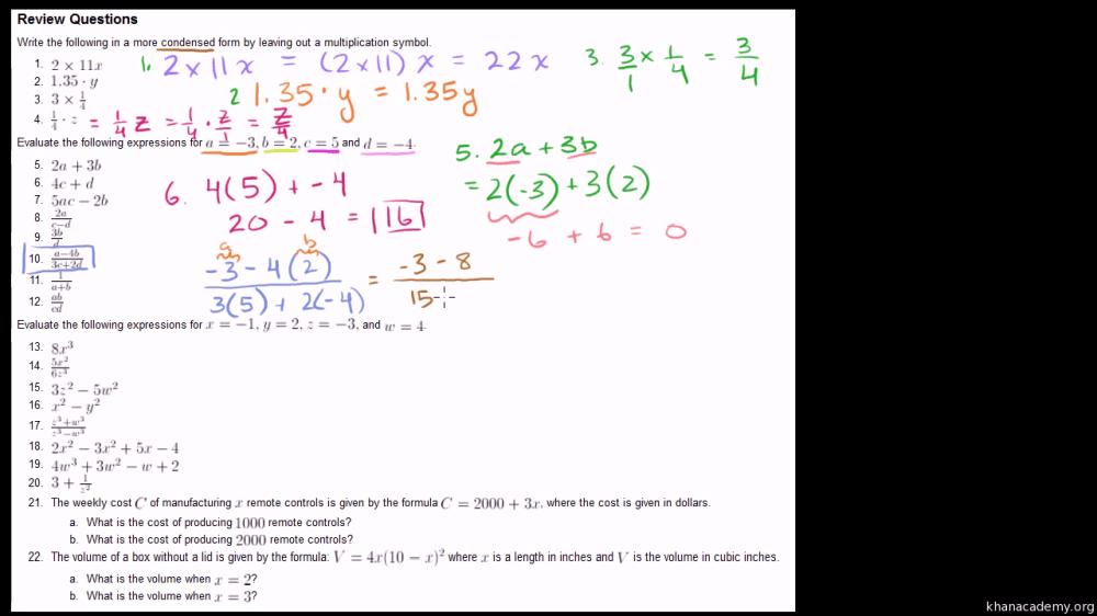 medium resolution of Simplifying Algebraic Expressions