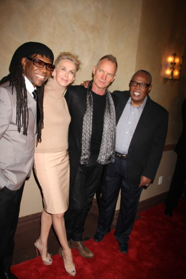 NILE RODGERS,TRUDIE STYLER,STING ,SAM MOORE We Are Family Foundation Honors Sting and Trudie Styler with Humanitarian award at Manhattan Center Grand Ballroom 4 11 2013 Photo by John Barrett/Globe Photo 2013