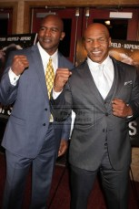 EVANDER HOLYFIELD,MIKE TYSON at screening of Boxing Documentary ''Champs'' at Village East Cinema 3-12-2015 John Barrett/Globe Photos 2015