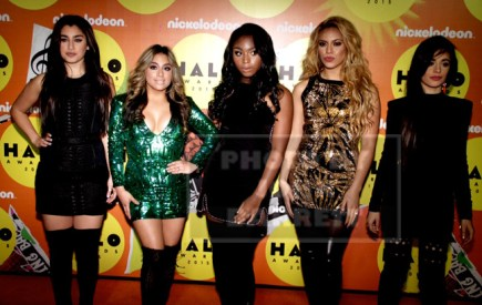 FIFTH HARMONY Lto R LAUREN JAUREGUI,ALLY BROOKS,NORMANI HAMILTON,DIAH JANE HANSEN,CAMILA CABELLO at Nickelodeon HALO awards at Pier 36 south street 11-14-2015 John Barrett/Globe Photos 2015