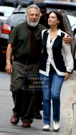 DUSTIN HOFFMAN and LISA wife of 32 years on the movie set of ''Ydkk'' or'' Yen Din Kia Kissa'' on west 78st 3-10-2016 John Barrett/Globe Photos 2016