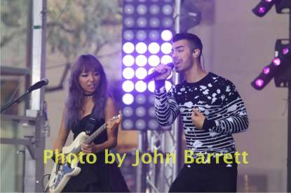 JOE JONES,JINJOO LEE from DNCE group performing on NBC ''Today'' show at Rockefeller center 8-26-2016 John Barrett/GlobePhotos 2016