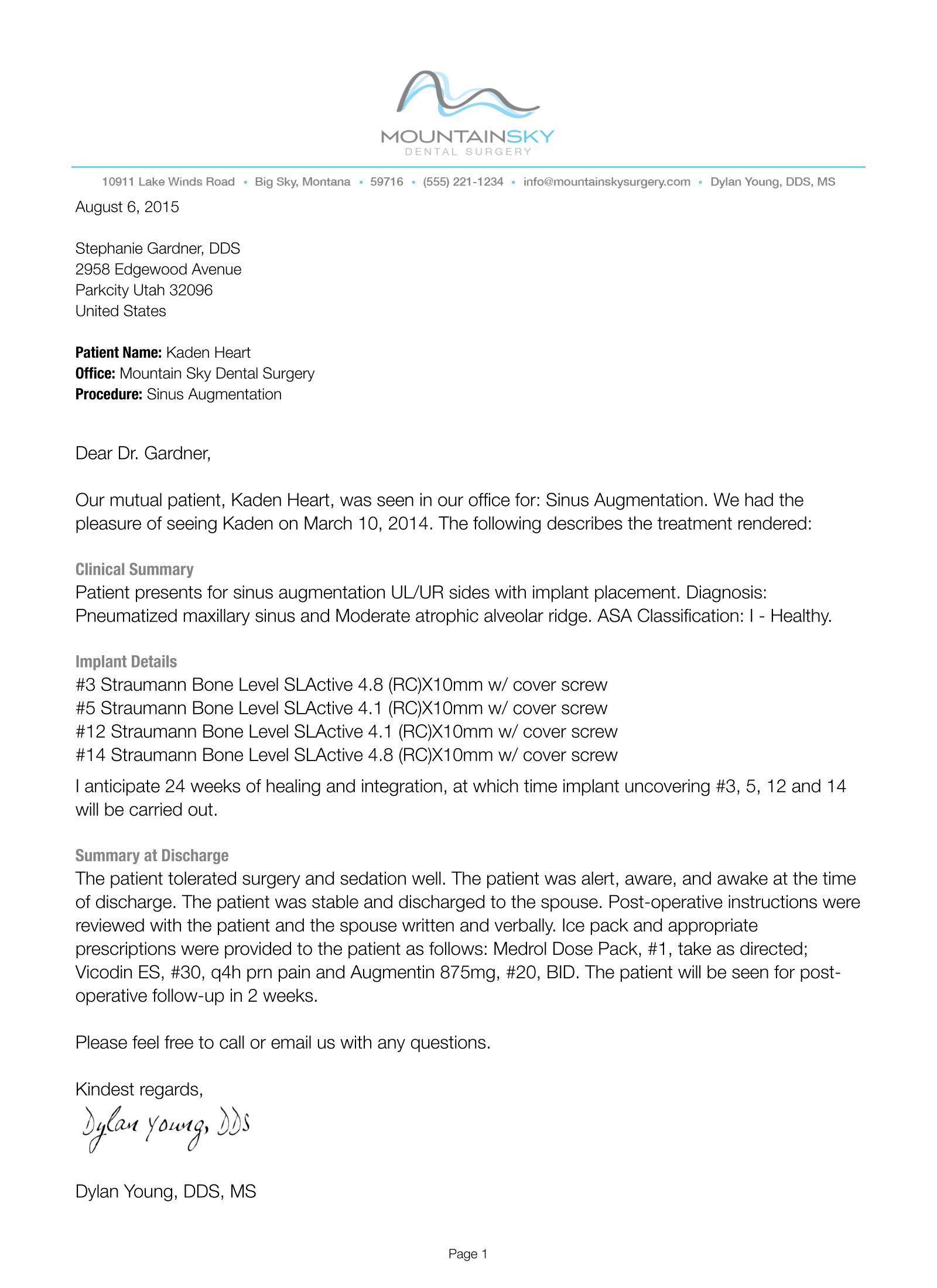 Patient Appointment Letter