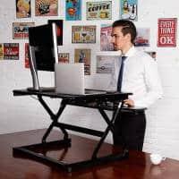 Black Elevate Height Adjustable Desk Top Stand