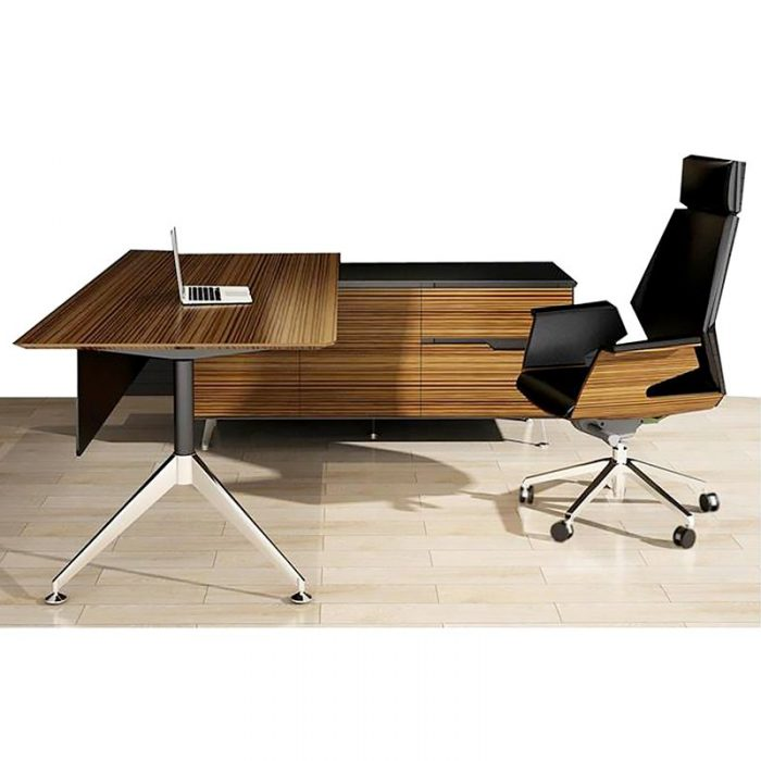 Milana Desk with Right Hand Attached Storage Cupboard, Zebrano with Milana Executive Chair