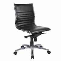 Aria Medium Back Chair, Black Leather