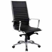 Atlantic High Back Chair, Black Leather