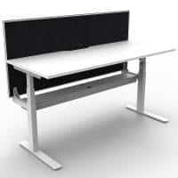 Cali Height Adjustable Single Sided Desk, Natural White Desk Top, White Frame, with Black Screen Divider