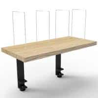 Clamp-On Desk Mounted Shelf, Black with Natural Oak Shelf