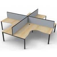Elite 4-Way Corner Workstation, Natural Oak Desk Tops, Black Under Frames, with Grey Screen Dividers