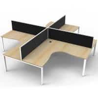 Elite 4-Way Corner Workstation, Natural Oak Desk Tops, White Under Frames, with Black Screen Dividers