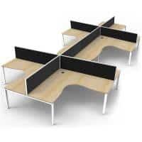 Elite 8-Way Corner Workstation, Natural Oak Desk Tops, White Under Frames, with Black Screen Dividers