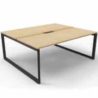 Elite Loop Leg 2-Way Desk Pod, Natural Oak Desk Tops, Black Under Frame, No Screen Divider
