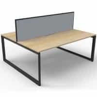 Elite Loop Leg 2-Way Desk Pod, Natural Oak Desk Tops, Black Under Frame, with Grey Screen Divider