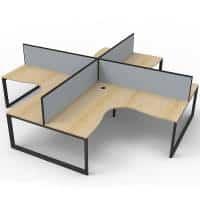 Elite Loop Leg 4-Way Corner Workstation, Natural Oak Desk Tops, Black Under Frames, with Grey Screen Dividers