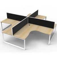 Elite Loop Leg 4-Way Corner Workstation, Natural Oak Desk Tops, White Under Frames, with Black Screen Dividers