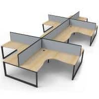 Elite Loop Leg 8-Way Corner Workstation, Natural Oak Desk Tops, Black Under Frames, with Grey Screen Dividers
